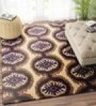 Beige Ogee Pattern Hand Tufted Wool Carpet