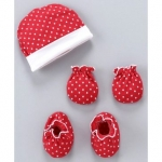 Ben Benny Cap And Mittens With Booties Dots Print