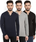 Only at Rs. 599 Men Henley Multicolor T-Shirt  (Pack of 3)