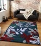 Blue Floral Pattern Hand Tufted Polyester Carpet 7 x 5 feet