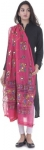 Cotton Blend Embroidered Pink Women Dupatta