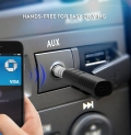 Clip-On 3 Button 3.5mm Aux Bluetooth Audio Jack Receiver With Mic For Car Kit Compatible