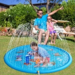 Buyiord Upgraded 39″ Sprinkle and Splash Play Mat, Inflatable Outdoor Sprinkler Pad Water Toys for Children Infants Toddlers Boys Girls and Kids