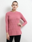 Solid Round Neck Casual Women Pink Sweater