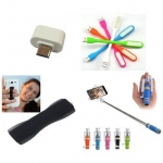 Combo of Selfie Stick, Finger Grip, Led and OTG Adopter for Smartphones