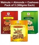 La Rosera Walnuts (Akhrot) + California Almond (Badam) + Cashew Nuts (Kaju) Pack of 3 (300gms Each)