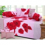 craftwell red flowers on pink cotton diwan set 8 pcs