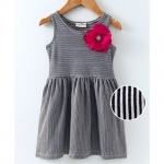 Crayonflakes Sleeveless Striped Flower Applique Dress
