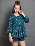 casual bell sleeve pinted women multicolor top