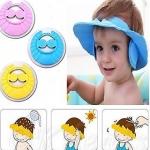 Dazzle adjustable baby bath shower cap with ear shields easy hair wash cap blue