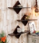 Decorative Wall Shelf (Set of 3) in Brown Finish
