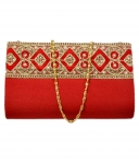 Duchess Red Fabric Festive Box Clutch