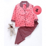 Enfance Core Bow Print Full Sleeves Night Suit