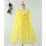Flower Embellished Sleeveless Dress – Yellow