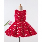 Enfance Leaves Detailed Sleeveless Dress With Belt