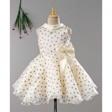 Enfance Silver Polka Dots Print Sleeveless Dress With Bow