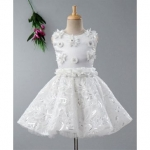 Sleeveless Flower Decorated Fit & Flare Dress – Off White