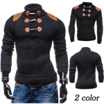 Fashion Horns Buttons Design Patchwork Pullovers Sweater