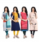 Only at Rs. 909 Pack of 4 Multicoloured Crepe Straight Kurti