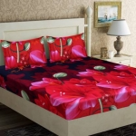 152 TC Microfiber Double Floral Bedsheet  (Pack of 3, Red)