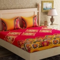 Bella Casa 104 TC Cotton Double Printed Bedsheet  (Pack of 1, Red)