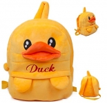 Frantic Premium Quality Soft Yellow Duck Velvet Plush Bag with 2 Compartment for Kids
