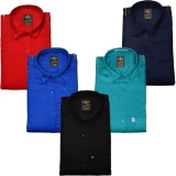 Freaky Men's Plain Casual Slimfit Poly-Cotton Full Sleeves Shirts