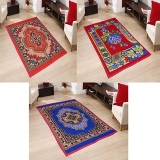 SNS MULTICOLOR FLORAL QUILTED CARPET SET OF 3