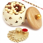White Wooden Nutties Jar with Pooja Thali with Pearl Rakhi
