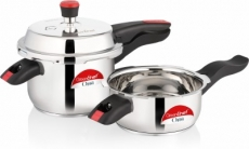 Greenchef ORRA COMBO 3 L, 2 L Induction Bottom Pressure Cooker & Pressure Pan  (Stainless Steel)