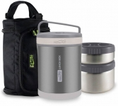 Home Puff Double Wall Vacuum Insulated Stainless Steel 2 Containers Lunch Box