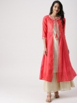 IMARA Women Coral Pink & Beige Striped A-Line Layered Kurta