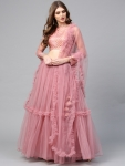 Only at Rs. 3339 Women Dusty Pink Semi-Stitched Lehenga
