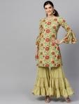 Indo Era Women Green & Pink Floral Print Kurta with Sharara