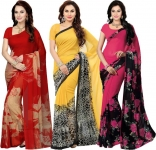 Printed Bollywood Poly Georgette Saree  (Pack of 3, Multicolor)