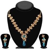 JewelMaze Gold Plated Blue Kundan Zinc Alloy Drop Necklace Set