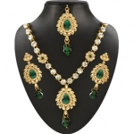 JewelMaze Green And White Austrian Stone Gold Plated Necklace Set with Maang Tikka