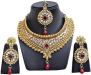 Alloy Jewel Set  (Green, Maroon, Gold, White, Multicolor)