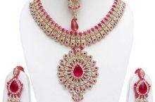 Jewels Guru  Alloy Gold-plated Jewel Set  (Pink)