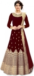 Embroidered Silk Blend Semi Stitched Anarkali Gown