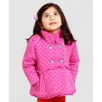 KidsDew Heart Print Full Sleeves Jacket – Pink