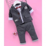 Kids Full Sleeves Striped 3 Piece Party Suit – Grey