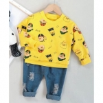 Kids Full Sleeves Tee & Ripped Jeans Piggy Print – Yellow