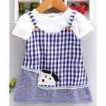 Kookie Kids Mock Dungaree Style Checks Frock