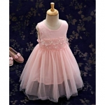 Kookie Kids Sleeveless Frock With Pearl Embellished