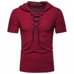 Lace Up Hooded Short Sleeve T Shirt – Red Wine