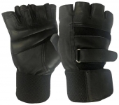 Leather with Net Gym Gloves (Free Size;Black)