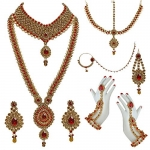 Lucky Jewellery Jewellery Set for Women (Gold Red)