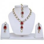 Lucky Jewellery Red Kundan Double Loucket Set