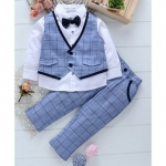 3 Piece Full Sleeves Checked Party Suit – Blue